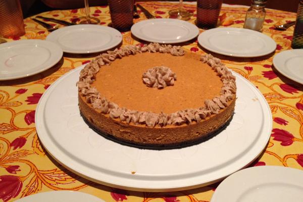 pumpkin cheesecake with cinnamon chai frosting
