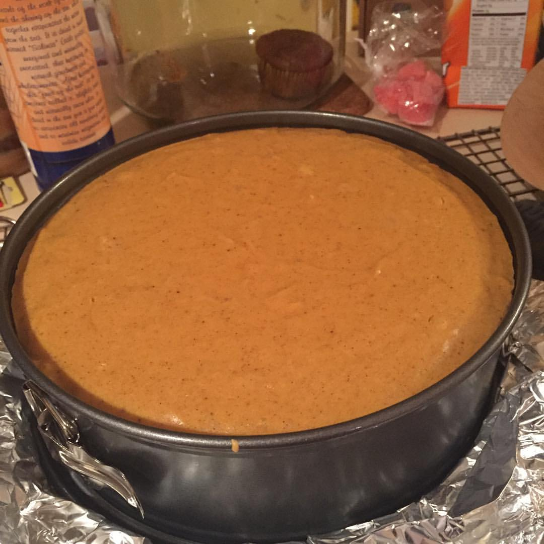 cake in pan, baked