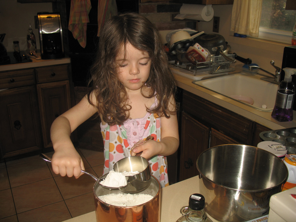 scooping flour