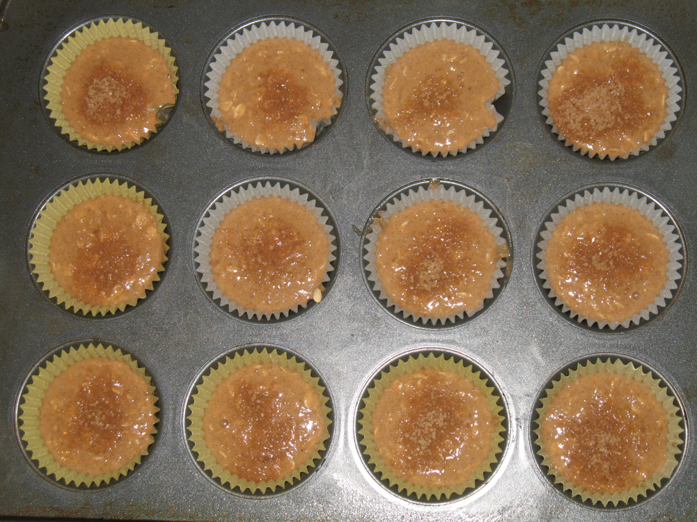 muffin batter in tins
