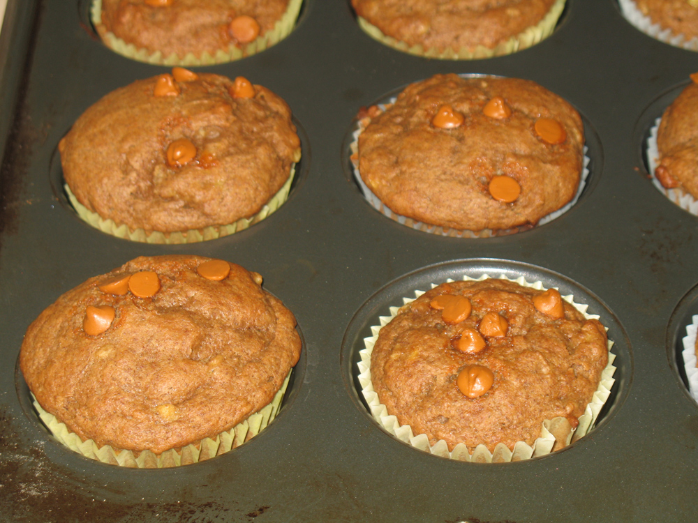 banana muffins with cinnamon chips