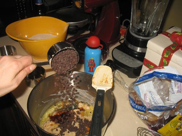 adding mini chocolate chips