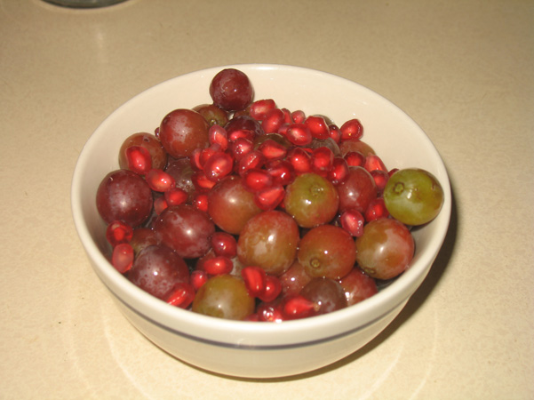 grapes and pomegranate seeds