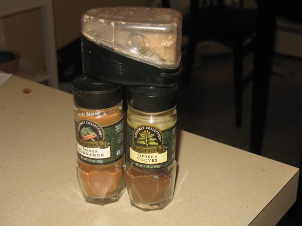 cinnamon, nutmeg, and cloves