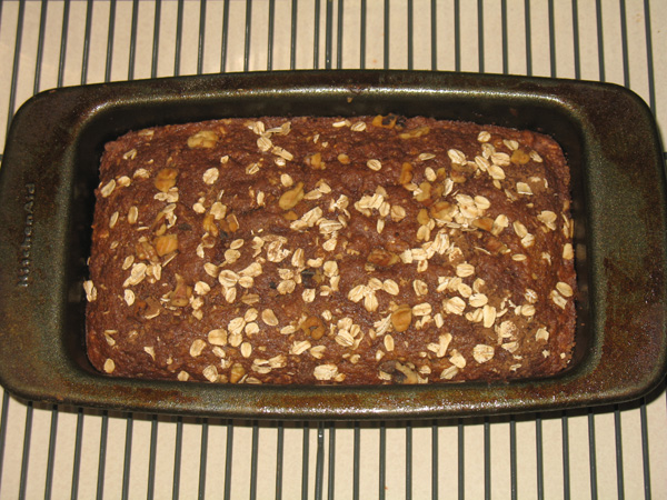 finished oatmeal tea bread with nuts