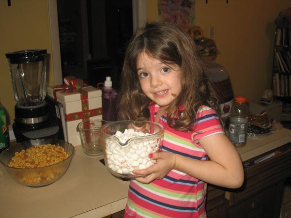 Juliet with mini marshmallows