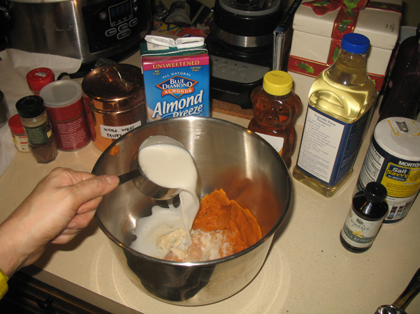 adding almond milk