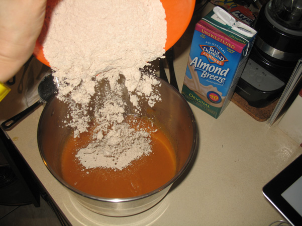 adding dry ingredients