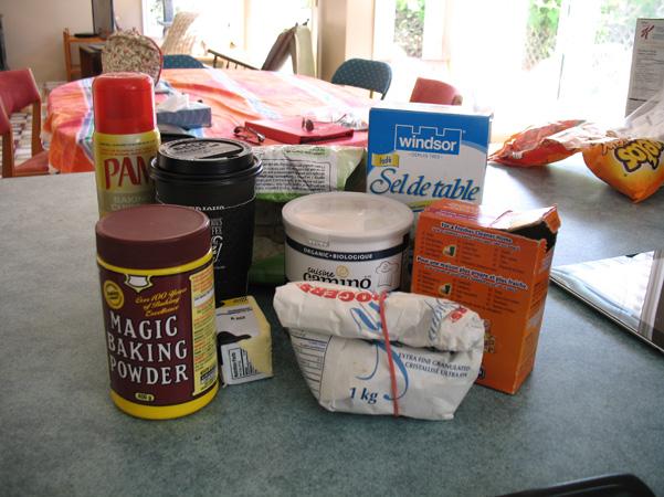 mocha snack cake ingredients gathered