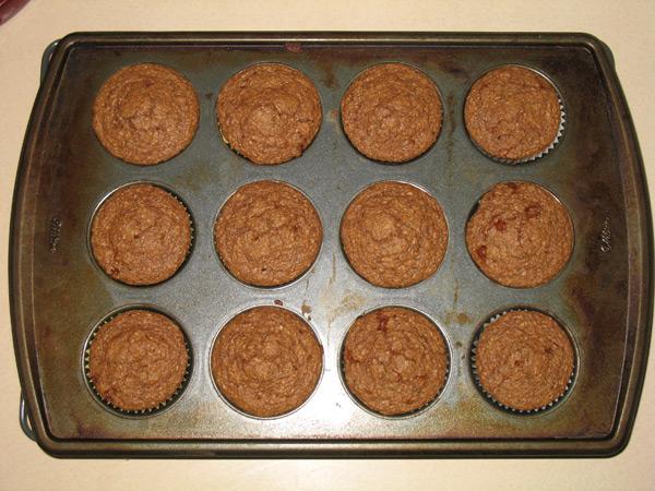 bran muffins in tin