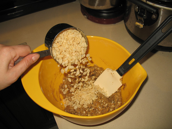 adding Rice Krispies