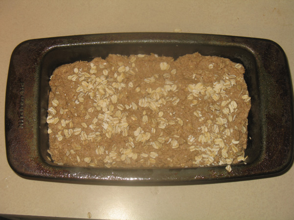 batter in pan with oats