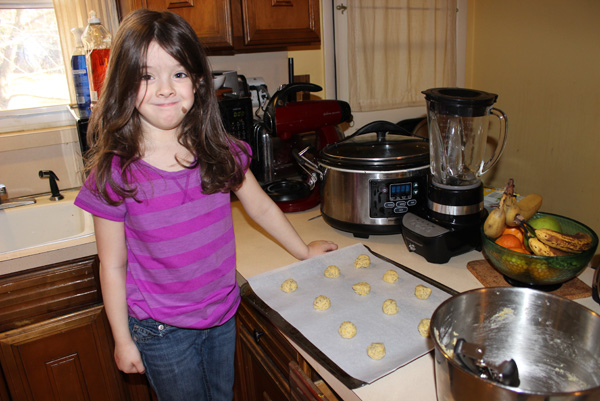 Juliet with cookie tray