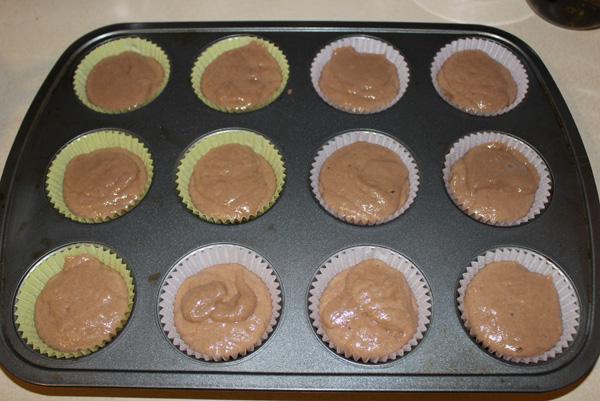 batter in muffin cups
