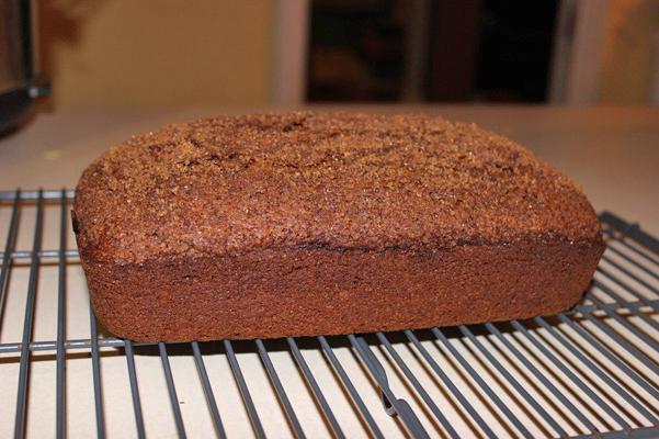 pumpkin espresso bread, baked