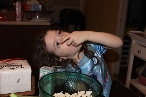 Juliet eating popcorn