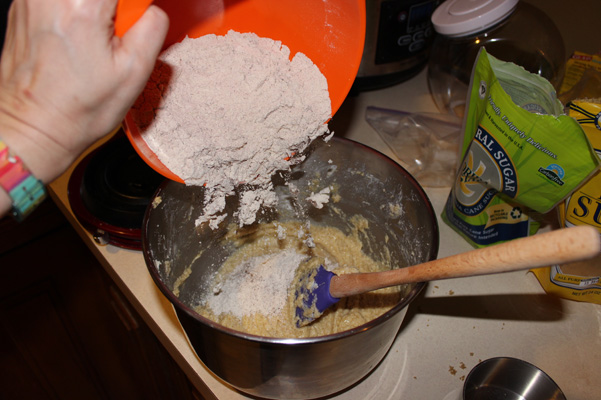 adding flour mixture