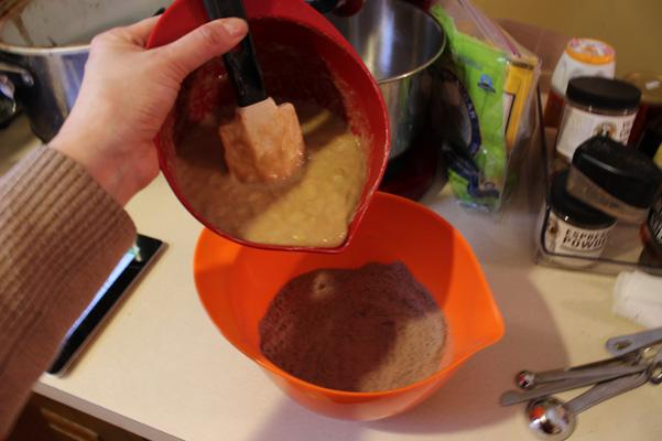 adding banana mixture