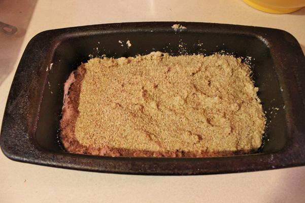 wheat germ sprinkled on top in pan