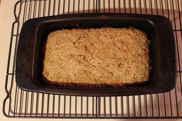 wheat germ bread, baked and still in pan