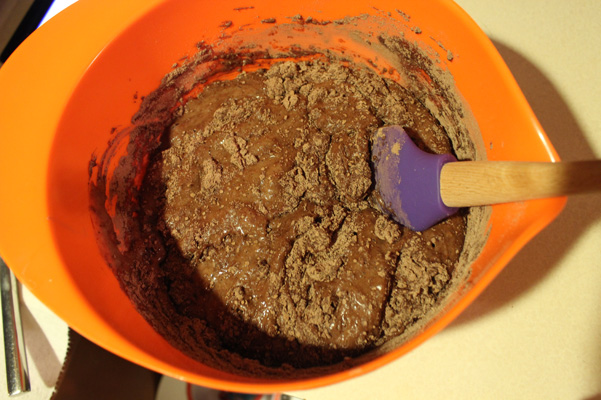 dry ingredients added to liquid