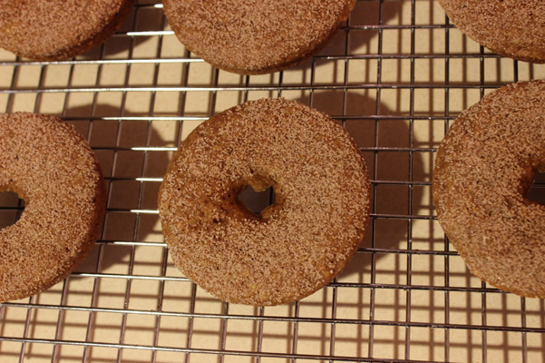 donuts on rack with topping