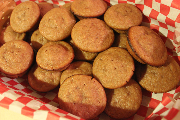 strawberry mini muffins in basket