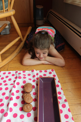 Juliet with strawberry mini muffins