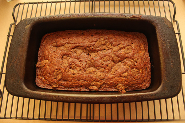 one banana banana bread baked, in pan