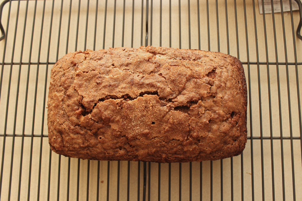 mocha banana bread on rack