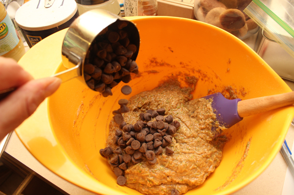 adding chocolate chips