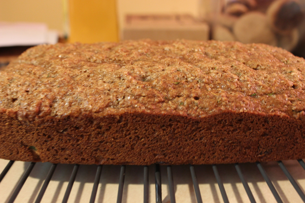 chocolate chip zucchini bread cooling