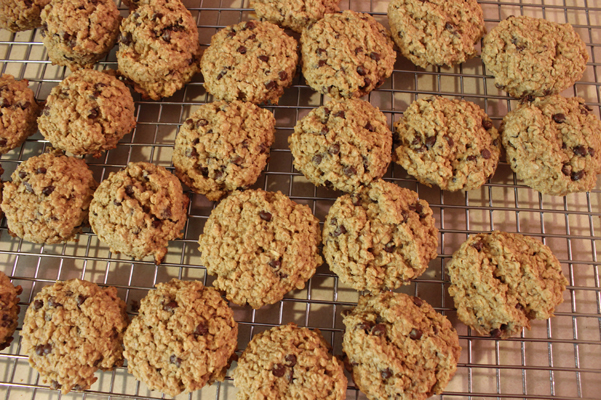 peanut butter oatmeal breakfast cookies on rack
