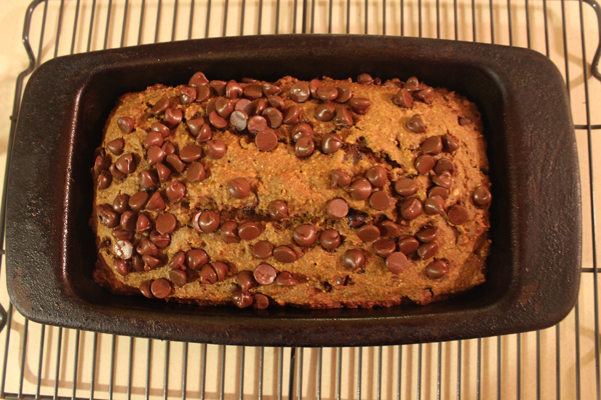 Almond Butter Pumpkin Bread with Chocolate Chips in pan, baked