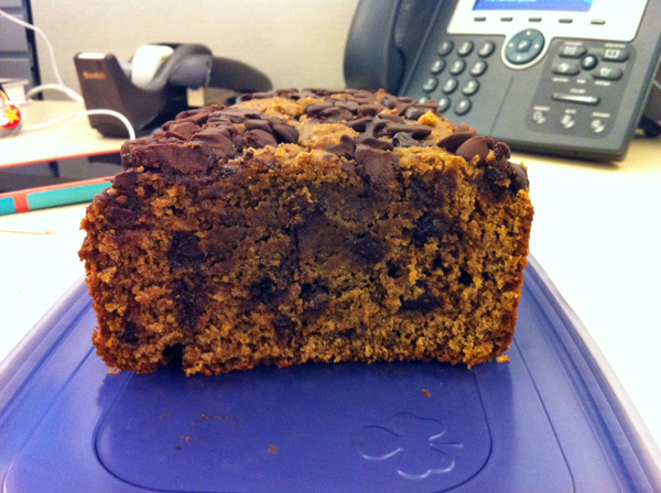 Almond Butter Pumpkin Bread with Chocolate Chips at desk