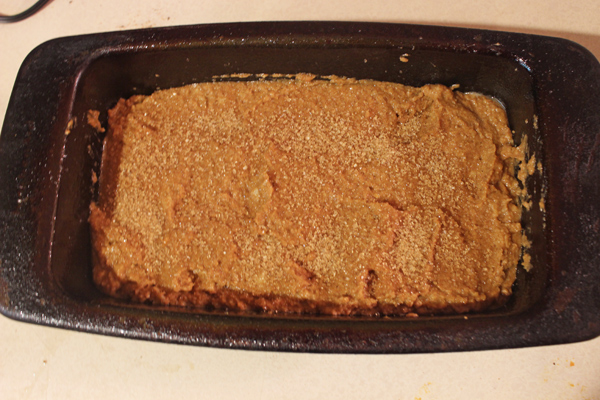 batter in pan with turbinado sugar