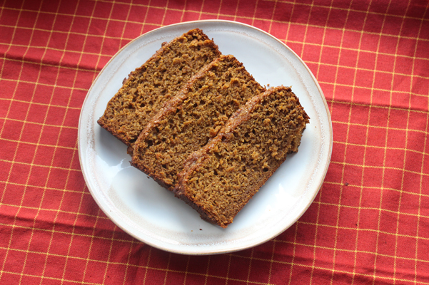 spiced honey bread, sliced