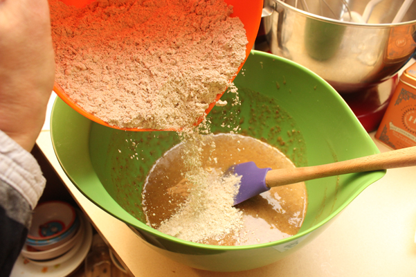 pouring flour