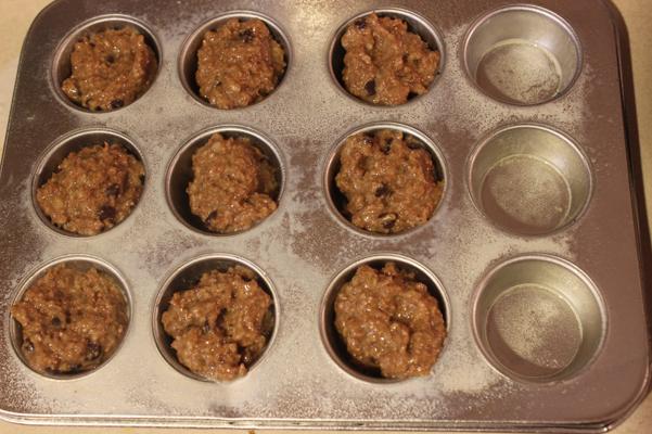 batter in mini muffin tin