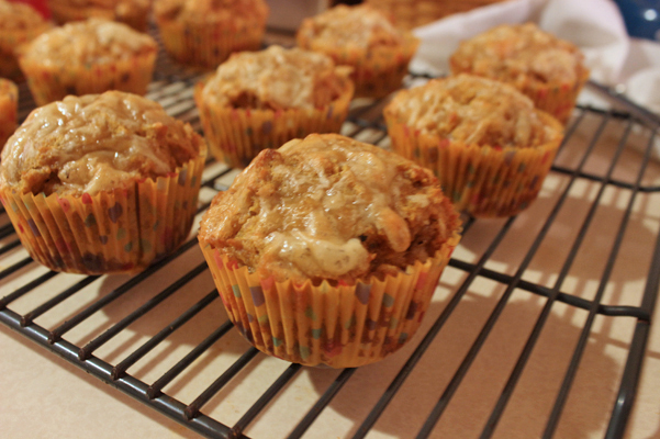 pumpkin cheddar muffins on rack