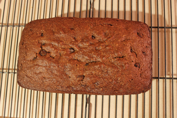 dark chocolate espresso pumpkin bread on rack