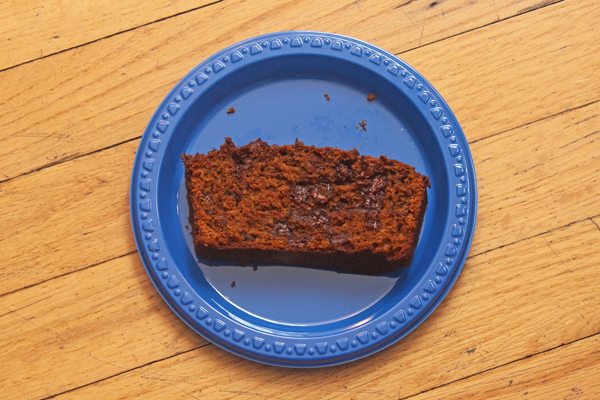 dark chocolate espresso pumpkin bread slice