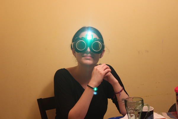 Antonia in night vision goggles