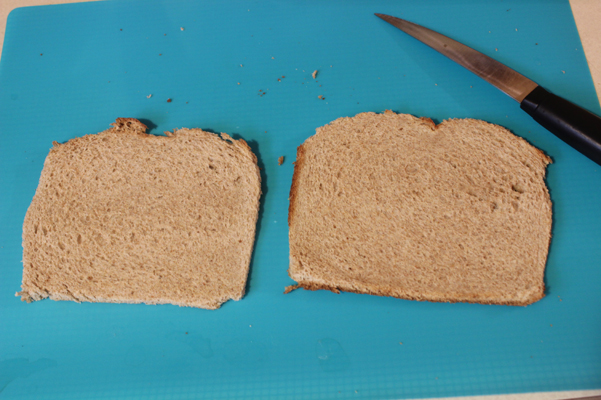 bread, flattened, with crust removed