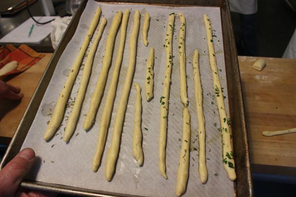 bread sticks on baking tray
