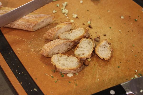 baguettes, sliced