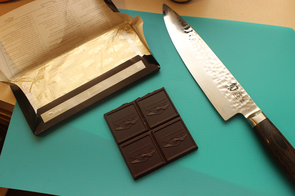 chocolate with knife