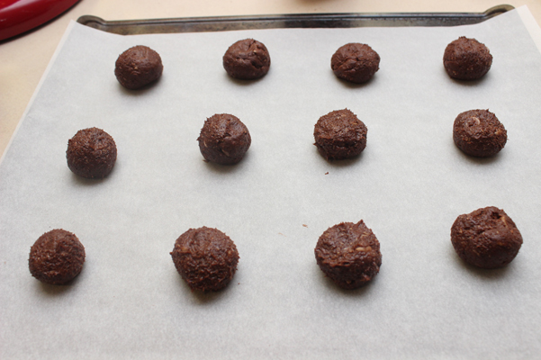 chocolate coconut espresso cookies rolled into balls