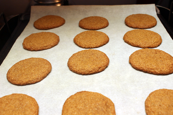 big soft ginger cookies on baking sheet