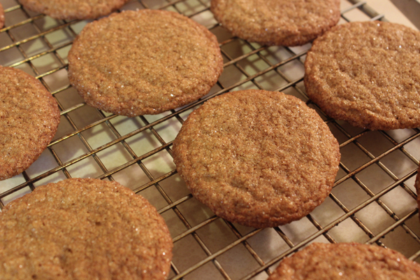 big soft ginger cookies on cooling rack